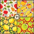 Pattern set with pears and apples — Vektorgrafik