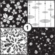 Vector floral seamless pattern set — Stock Vector