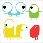 Set of cute monsters isolated on white. — Stock Vector