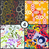 Abstract seamless patterns set — Stock Vector