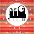 Greeting card with monster — Stock Vector