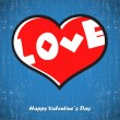 Valentines day card with heart — Vector de stock