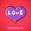 Valentines day card with heart — Image vectorielle
