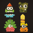 Set of four monsters — Imagen vectorial