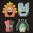 Set of four monsters — Stock Vector