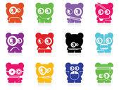 Set of twelve color monsters — Stock Vector
