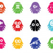 Set of twelve color monsters isolated on white. vector — Stok Vektör