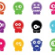 Set of twelve color monsters isolated on white. vector — Image vectorielle