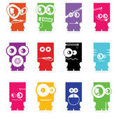 Set of twelve color monsters isolated on white. vector — Stock Vector