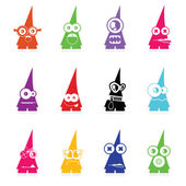 Set of twelve color monsters isolated on white. vector — Stock vektor