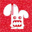 Monster on background with hearts and flowers — Imagen vectorial