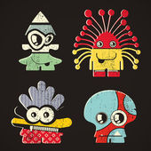 Set of four monsters on retro grunge background — Vector de stock