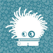 Monster on background with hearts and flowers — Vector de stock