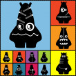 Set of twelve color monsters — ストックベクター #36380093