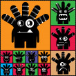 Set of twelve color monsters — Vector de stock #36380123