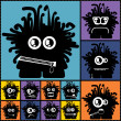 Set of twelve color monsters — Vector de stock #36380169
