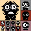Set of twelve color monsters — Vector de stock #36380207