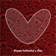 Valentine day card with floral background — Stock vektor