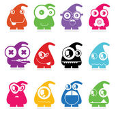 Set of twelve color monsters — Stock Vector