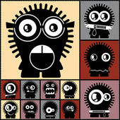 Set of twelve color monsters — Vector de stock