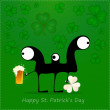 Happy St. Patrick s Day. Cute monster with cloverleaf and beer — Stock Vector #38795445