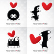 Valentine s day card with monsters and hearts — Stock Vector #38796071