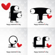 Valentine s day card with monsters and hearts — Stock Vector #38796181