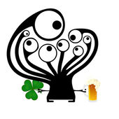 Happy St. Patrick s Day. Cute monster with cloverleaf and beer — Stock Vector