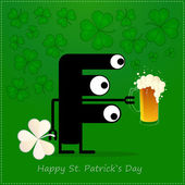 Happy St. Patrick s Day. Cute monster with cloverleaf and beer — Vetorial Stock