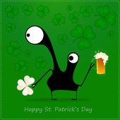 Happy St. Patrick s Day. Cute monster with cloverleaf and beer — Stok Vektör