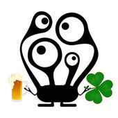 Happy St. Patrick s Day. Cute monster with cloverleaf and beer — Cтоковый вектор