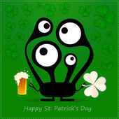Happy St. Patrick s Day. Cute monster with cloverleaf and beer — Vettoriale Stock