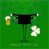 Happy St. Patrick s Day. Cute monster with cloverleaf and beer — Wektor stockowy