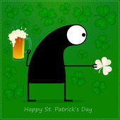 Happy St. Patrick s Day. Cute monster with cloverleaf and beer — ストックベクタ
