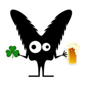 Happy St. Patrick s Day. Cute monster with cloverleaf and beer — Stock vektor