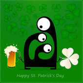 Happy St. Patrick s Day. Cute monster with cloverleaf and beer — Stockvector
