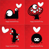 Valentine s day card with monsters and hearts — Stock Vector