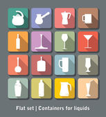 Set of flat containers for liquids — Stock Vector