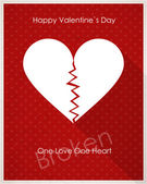 Card with broken heart — Stock Vector