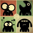 Set of four monsters on retro grunge background — Stock Vector #43484621