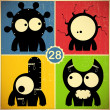 Set of four monsters on retro grunge background — Stock Vector