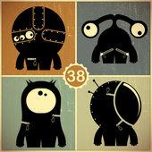 Set van vier monsters op retro grunge achtergrond — Stockvector