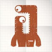 Cute monster on folded paper — Stock Vector