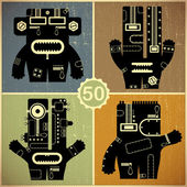 Set of four monsters at retro grunge background — 图库矢量图片
