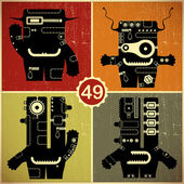 Set of four monsters at retro grunge background — Stock Vector