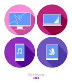 Set of four flat icons — Stock Vector