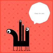 Cartoon monster with message cloud — Stock Vector