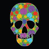 Floral skull on black background — Stock Vector