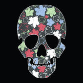 Floral skull on black background — Stock Vector