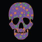 Cranio floreale su sfondo nero — Vettoriale Stock